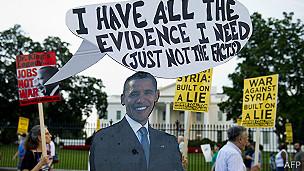 protesta contra la guerra en Siria frente a la Casa Blanca