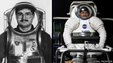 Nikolay Moiseev probando trajes espaciales