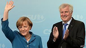 Angela Merkel y Horst Seehofer, ministro presidente de Baviera.