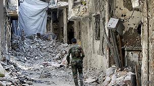 Barrio de Damasco destruído por bombardeos