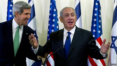 Secretario estado EEUU john Kerry y primer ministro de Israel, Benjamin Netanyahu.