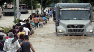 Inundaciones en Acapulco, México. Foto: AFP