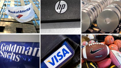Collage de logos de las compañías que pelean por el Olimpo en el Dow Jones