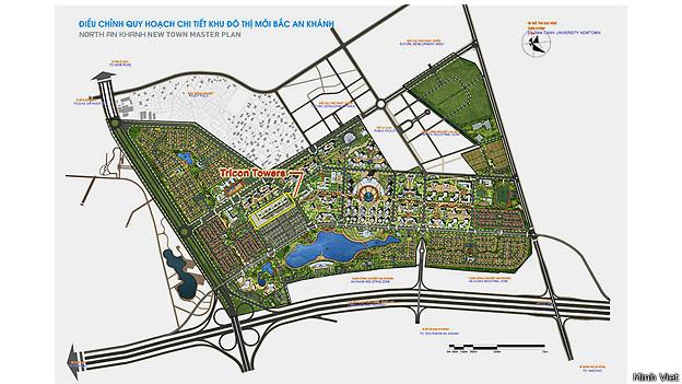 Mô hình Tricon Towers do Minh Việt quảng cáo