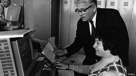 Centro de procesamiento de palabras en oficina de los años 60