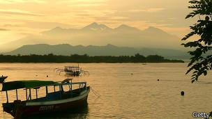Vista de la Isla de Lombok en Indonesia