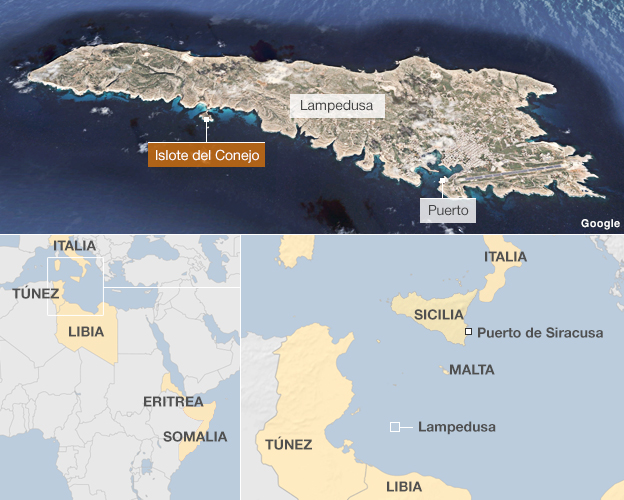 Mapa de Lampedusa