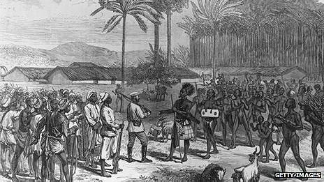 Henry Morton Stanley recibido por la tribu Manyema en 1883