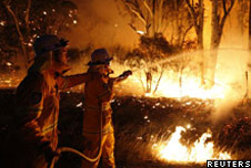 Firefighters trying to out bushfires