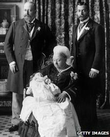 Três sucessores da rainha Vitória, em 1894. Foto: Getty Images