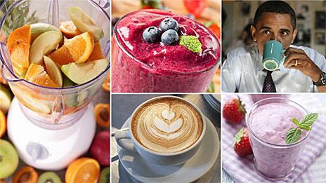 Café e vitaminas de frutas (arquivo)