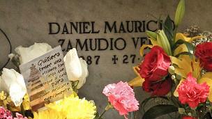 Nicho temporal de Daniel Zamudio en Cementerio General Santiago