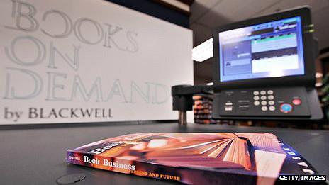 Máquina de impresión sobre pedido en Blackwell's en 2009