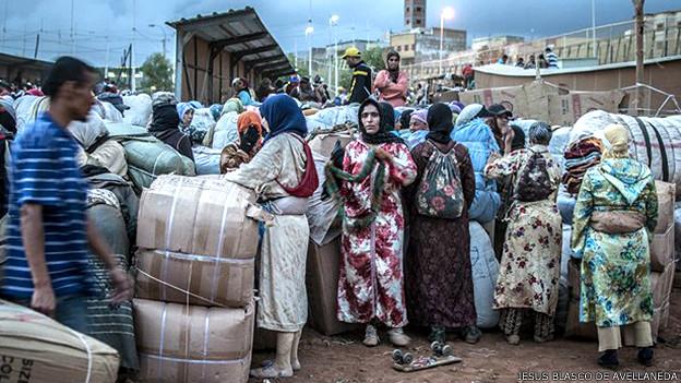 """""""Mujeres mula"""" en el norte de África"""