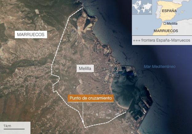 Mapa de Melilla, enclave de España en Marruecos