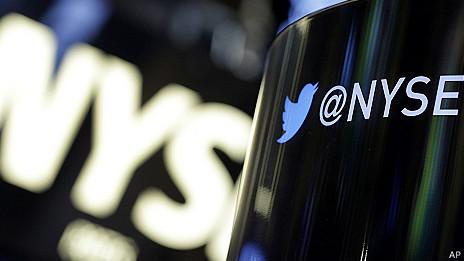 Logo de la Bolsa de Valores de Nueva York y Twitter.