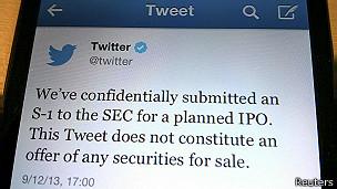 Tuit anunciando Oferta Pública de Venta