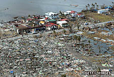 Homes destroyed by Typhoon Haiyan