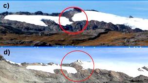 Secuencia que muestra el encogimiento de 2001 a 2012 del glaciar Pastoruri