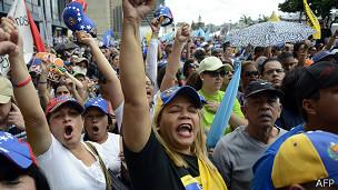 Manifetación oposición en Venezuela