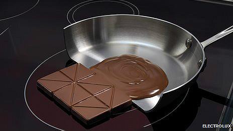 Chocolate derritiéndose en una sartén