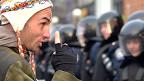 Một người bị thương trong cuộc biểu tình
