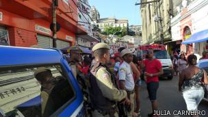 Polícia no pelourinho. Foto: Julia Carneiro/BBC Brasil
