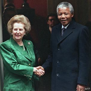 Margaret Thatcher y Nelson Mandela