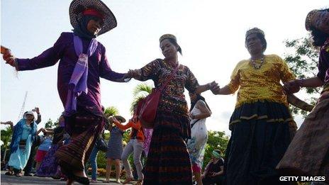 Baile tradicional en la reunión de Bali