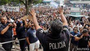 Protesta policial en La Plata, Buenos Aires