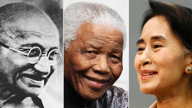 Gandhi, Mandela e Suu Kyi