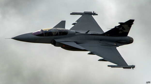 Caça Gripen, da sueca Saab, em foto de 2012 (AFP)