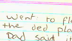 Hoja del diario de Jill Farrant cuando era niña.