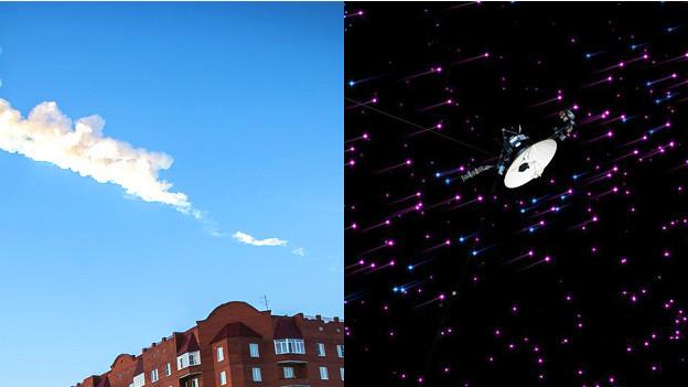Montaje del meteorito ruso y sonda Voyager
