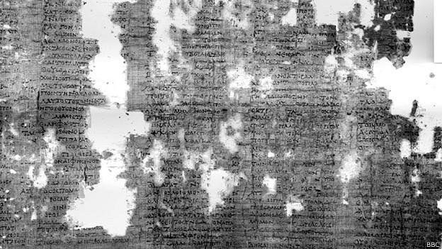 Papiro visto con luz infrarroja multiespectral