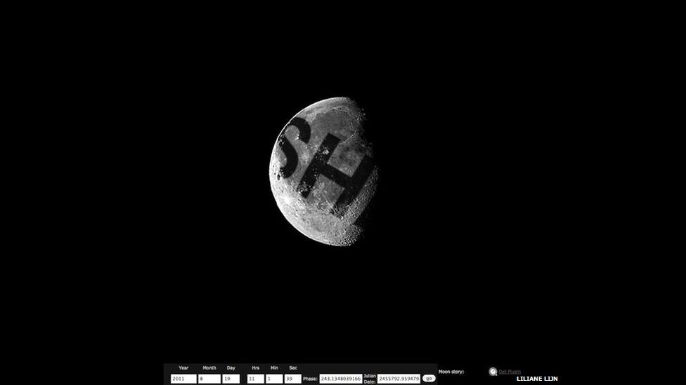 Moonmeme, изображения слова ОНА, проецирующегося на Луну Лилиан Лейн