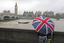 People with an umbrella in London