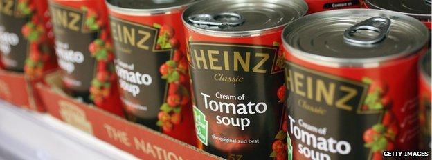 Latas de sopa de tomate