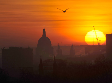 St Paul's Cathedral in London at dawn