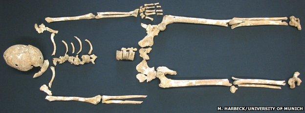 Esqueleto de víctima de peste negra