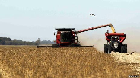 Cosecha de soja en Argentina