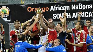 Los jugadores libios celebran la victoria