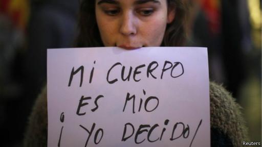 Protesta en Madrid contra ley de aborto