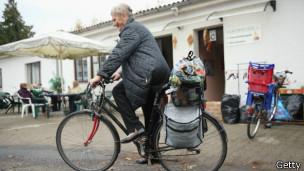 Jubilada en bicicleta