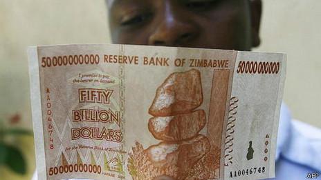 Billete de miles de millones de dólares zimbabuenses