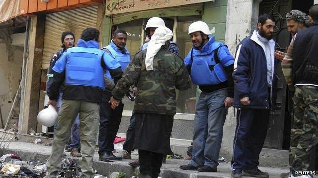 Personal de la ONU en Homs