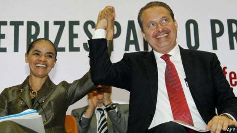 Eduardo Campos e Marina Silva | AFP