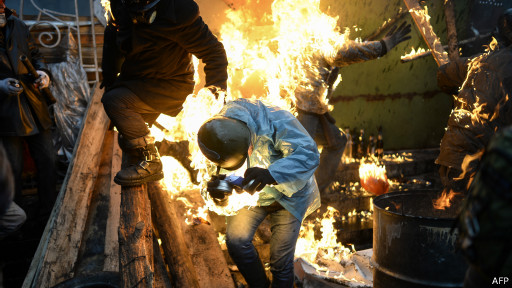 Manifestante em fogo