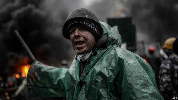 Manifestante en Kiev