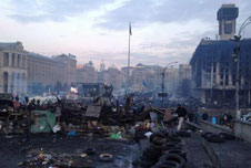 Barricades in Independence Square in Kiev